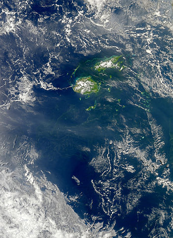 An image from space of cyanobacteria flourishing by Fiji