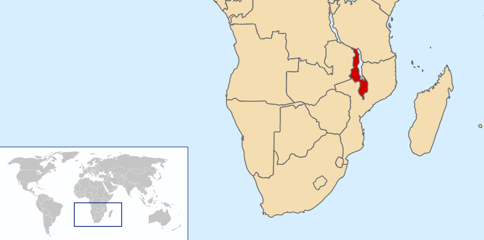 Map of Malawi. By Rei-artur CC 3.0, via Wikimedia Commons