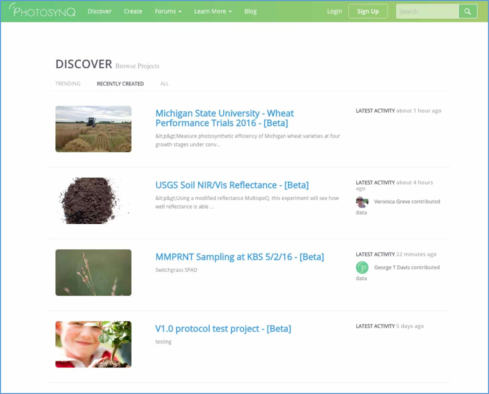 Screenshot of the PhotosynQ website showing various projects