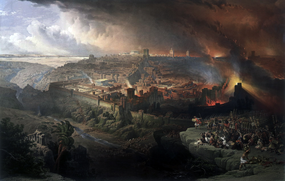 Painting by David Roberts of the siege of Jerusalem.