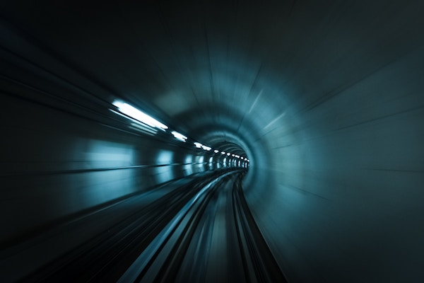 Inside a tunnel, traveling at fast speed