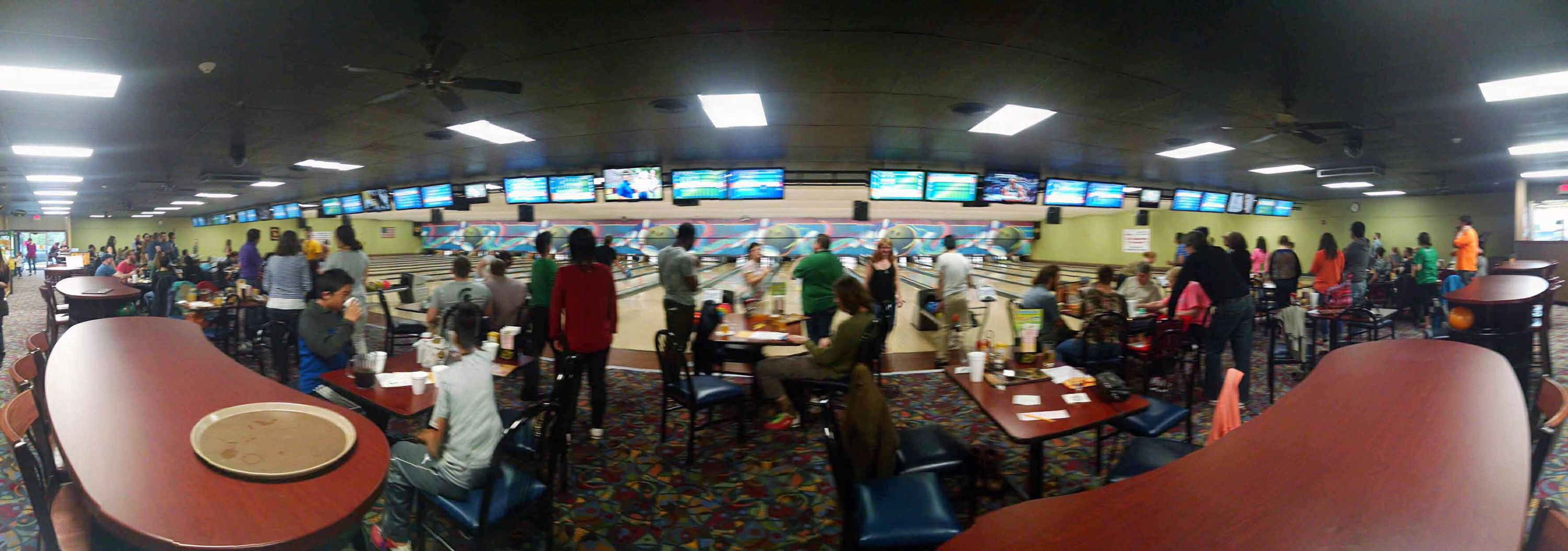 A panoramic image of all 24 lanes at the bowling alley.